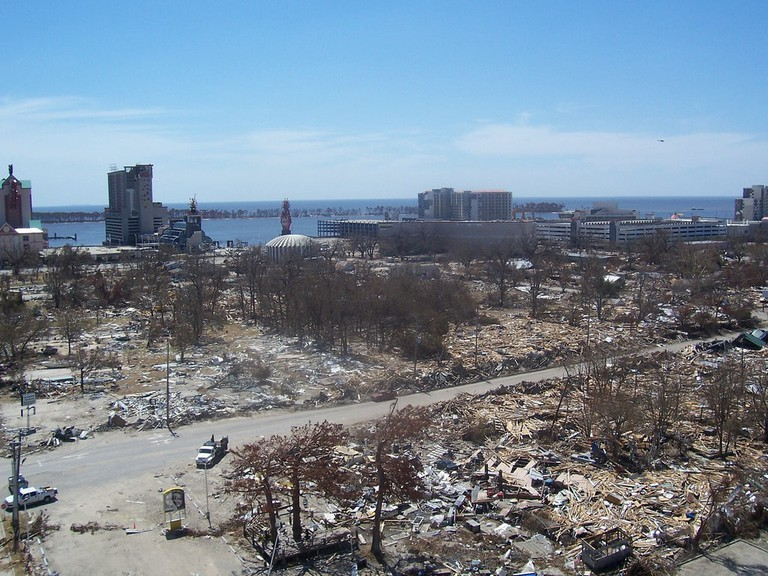 This photo, taken atop the Palace Casino roof in Biloxi, Mississippi, shows the destruction of Hurricane Katrina. The name 'Katrina' has been retired from the storm naming system, out of respect for the victims of the 2005 hurricane.
