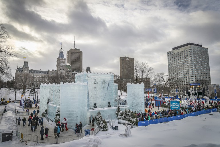 An ice palace set up in Quebec City for Carnaval
