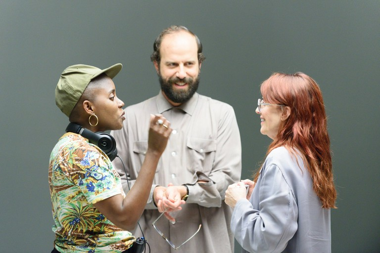 Lemon director Janicza Bravo with stars Brett Gelman and Megan Mullaly