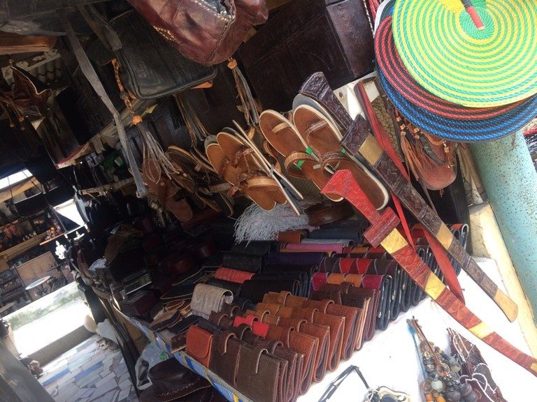 The market has a lot of handmade leather goods