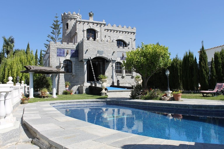 The medieval-style castle for sale near Estepona; courtesy of AIDA estate agency