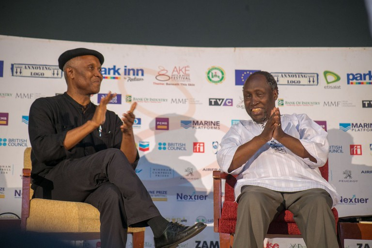 Okey Ndibe and Ngũgĩ wa Thiong'o during a discussion at Ake Art and Book Festival 2016