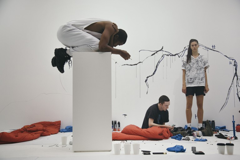 Johnson, Mahar and Aigner in Anne Imhof, 'Angst II', 2016