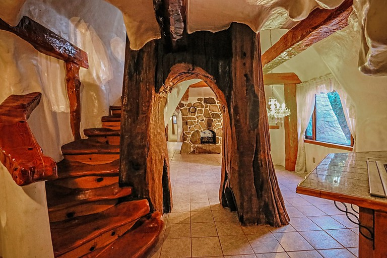 Tree trunk inside the Snow White inspired cottage
