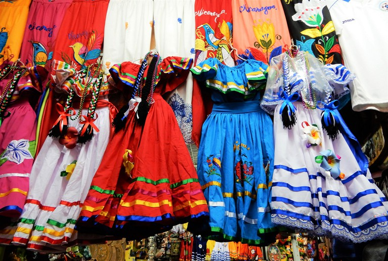 Traditional folk dresses at Mercado Roberto Huembes