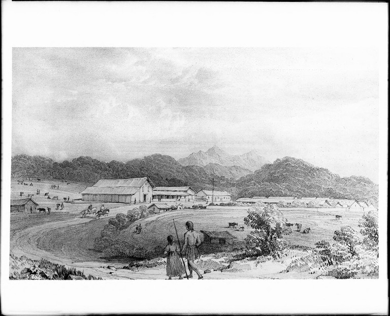 Drawing of Mission San Francisco de Asís (Dolores) by lithographer, Captain William Smyth, R.N., ca.1839 (CHS-5756)