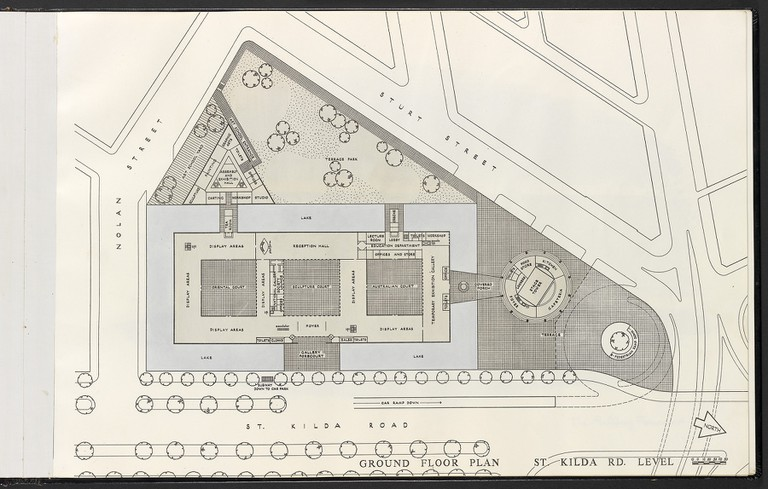 Roy Grounds plan for the National Gallery of Victoria and Art Centre – Ground Floor Plan Courtesy National Gallery of Victoria