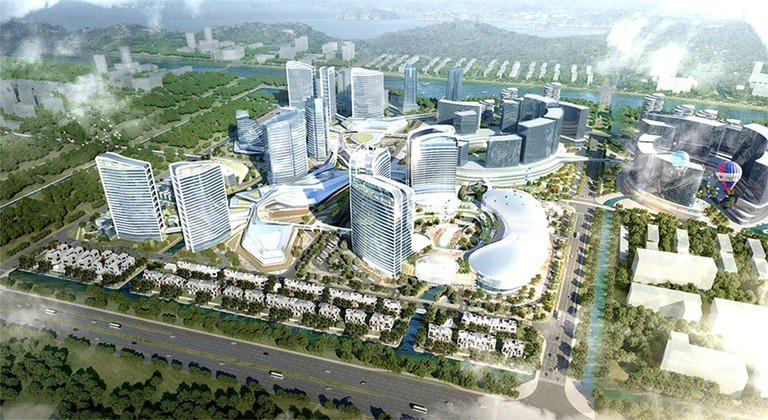 A rendering showing Hengqin's 'Novotown' – a giant entertainment complex that will be comprised of five different phases
