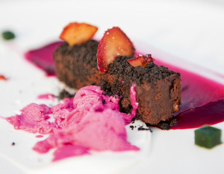 Pangea's chocolate financier with beetroot and goat's cheese