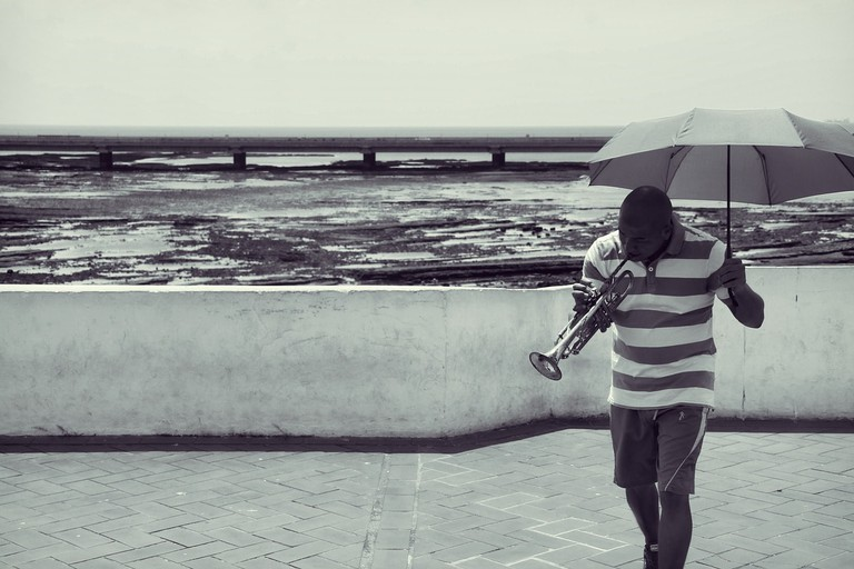 Man playing the trumpet in Panama