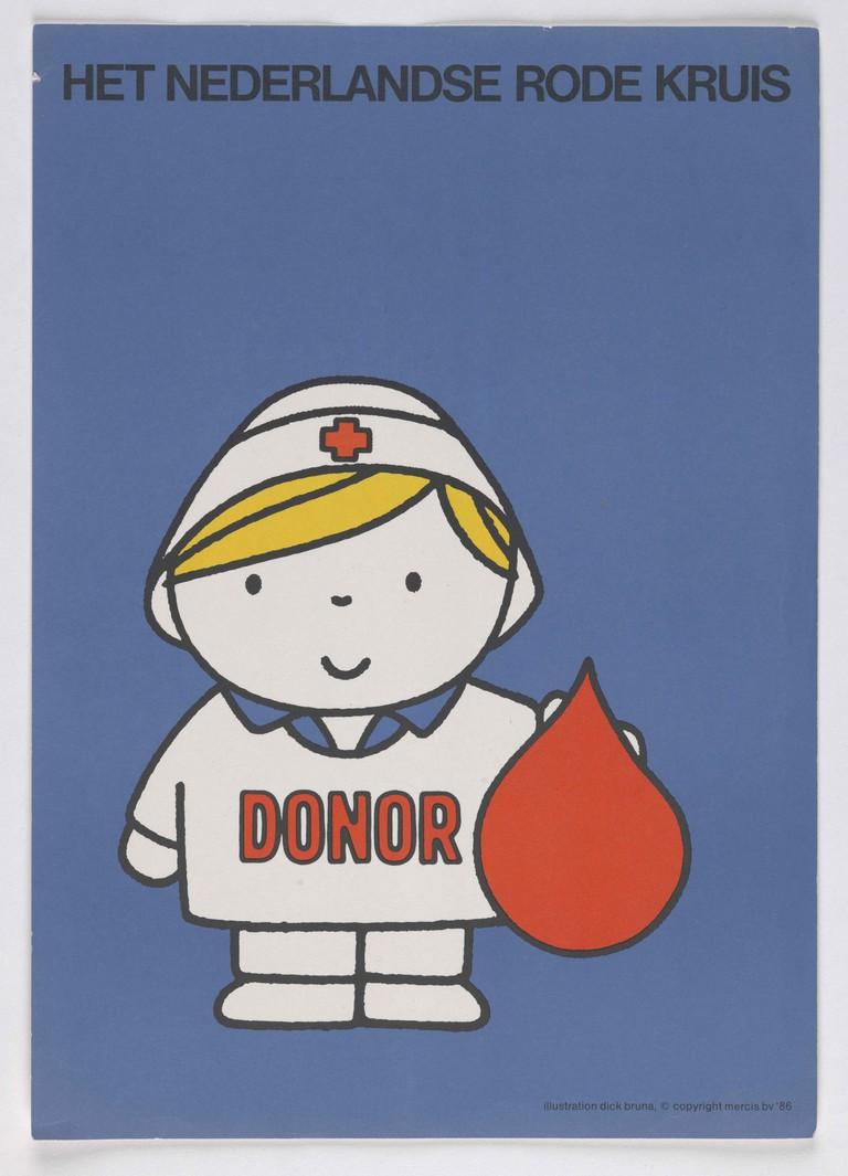 Poster created for Het Nederlandse Rode Kruis by Dick Bruna, 1986