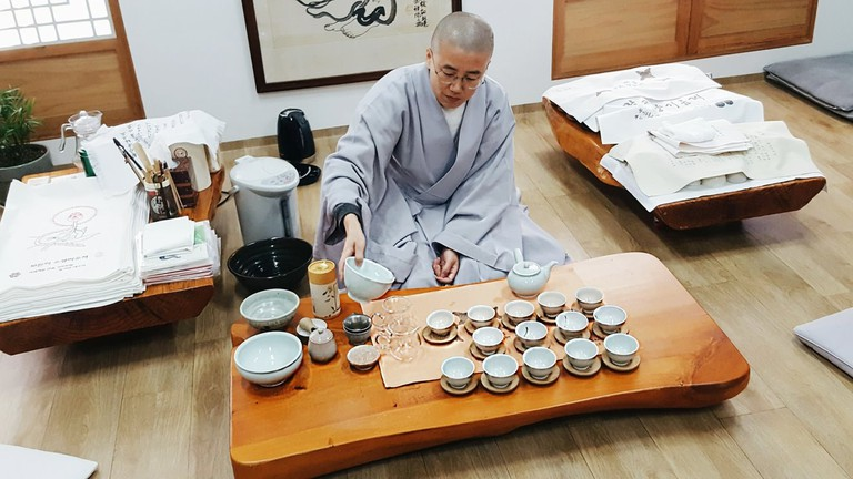Enjoy a traditional tea ceremony at a Buddhist temple