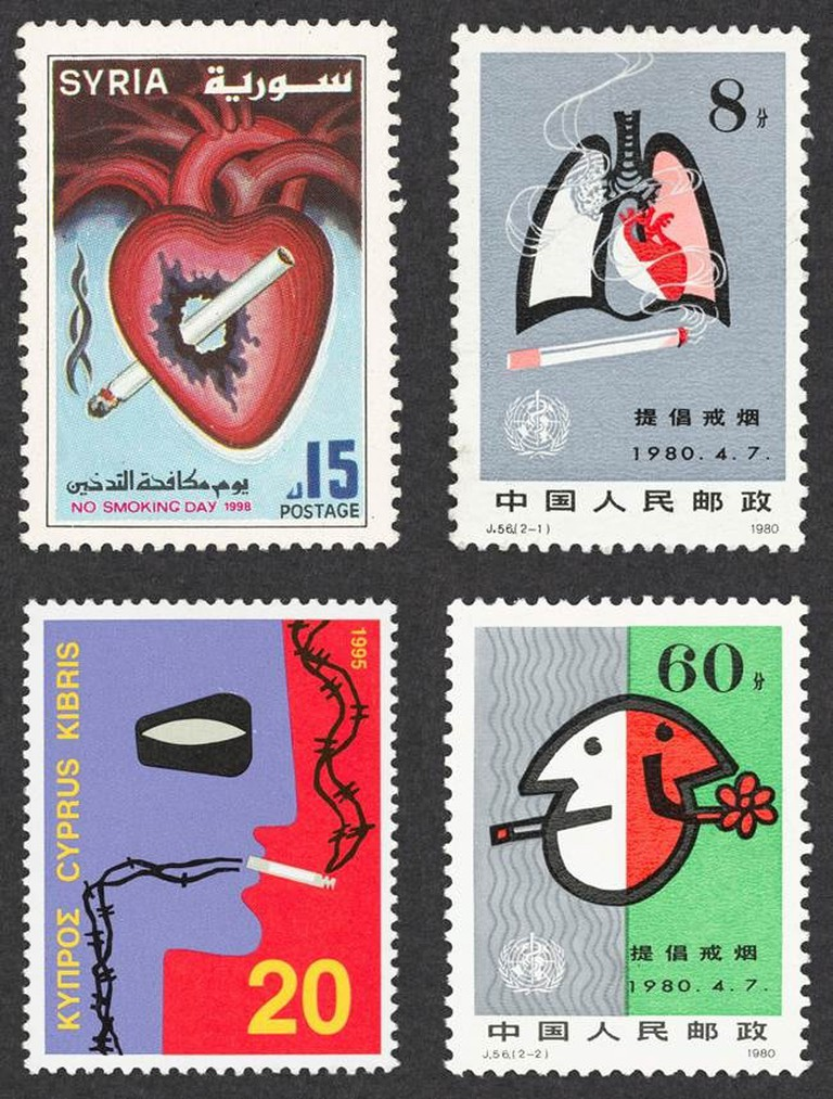 Selection of anti-smoking stamps from around the world