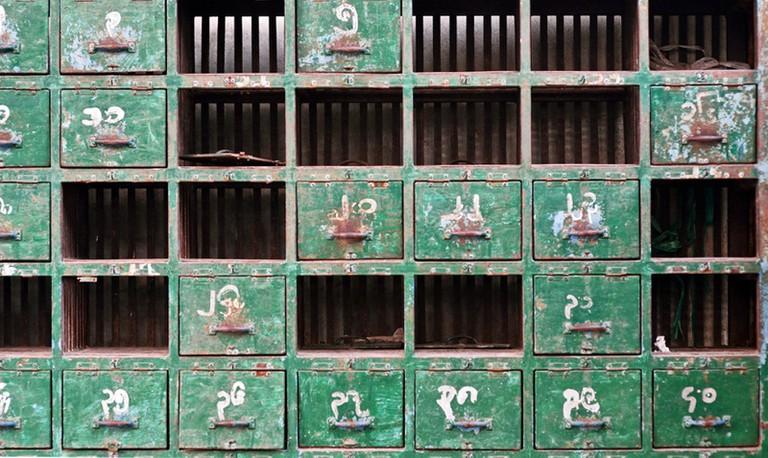 Temple shoe storage in Myanmar