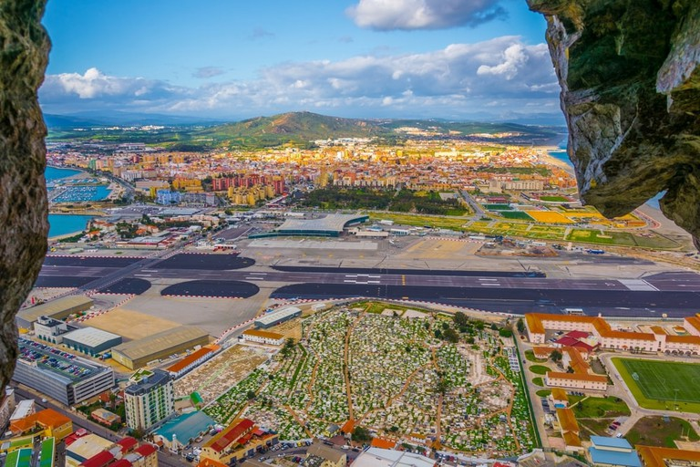 Stunning views of Gibraltar airport from the Great Siege Tunnels; trabantos/shutterstock