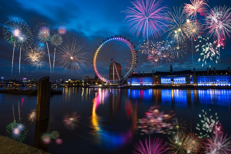 London Eye and Queen's Walk with Fireworks