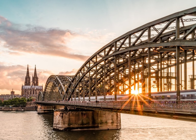 Hohenzollern bridge in Cologne during sunset