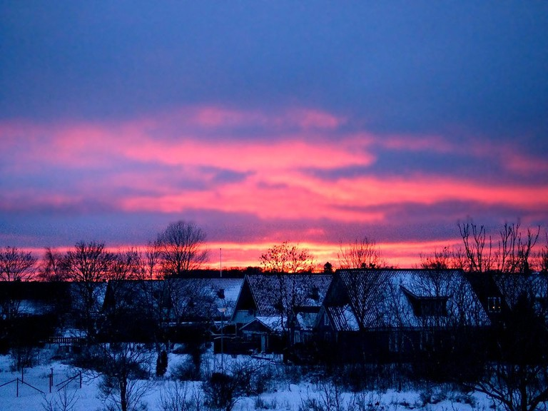 Winter sunset on Gotland