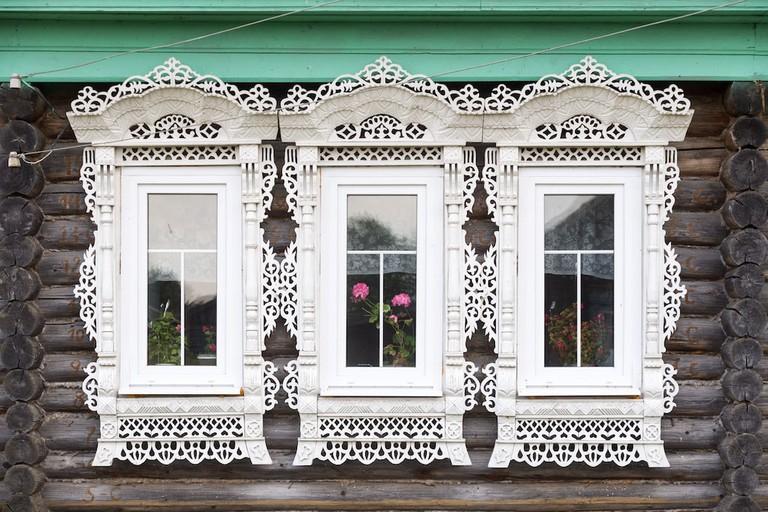 Window frames in Soymitsy, Russia