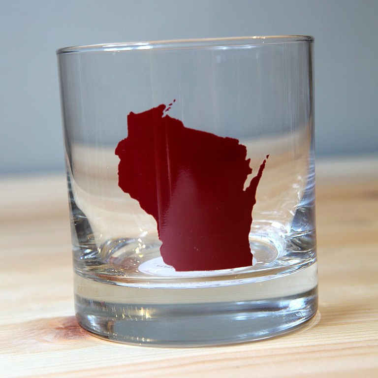 Rocks Glass Wisconsin State Burgundy