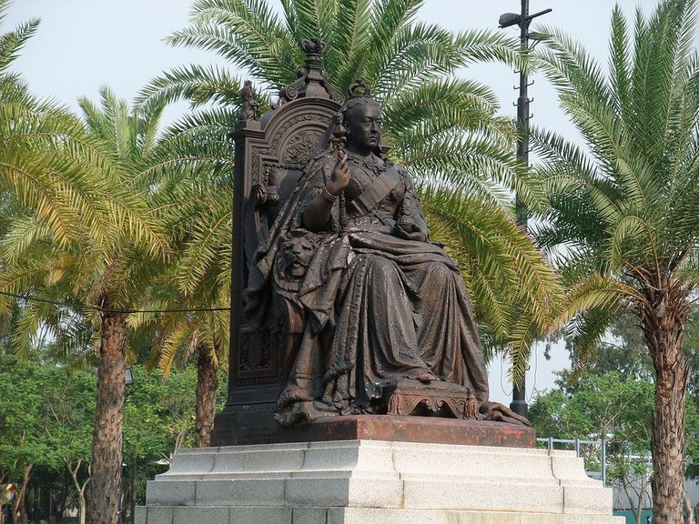 Statue of Queen Victoria that stands at the main entrance to Victoria Park in Hong Kong