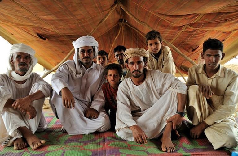Local Bedouin Emiratis in a desert tent