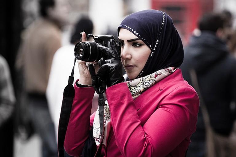 Muslim woman wearing the Islamic hijab