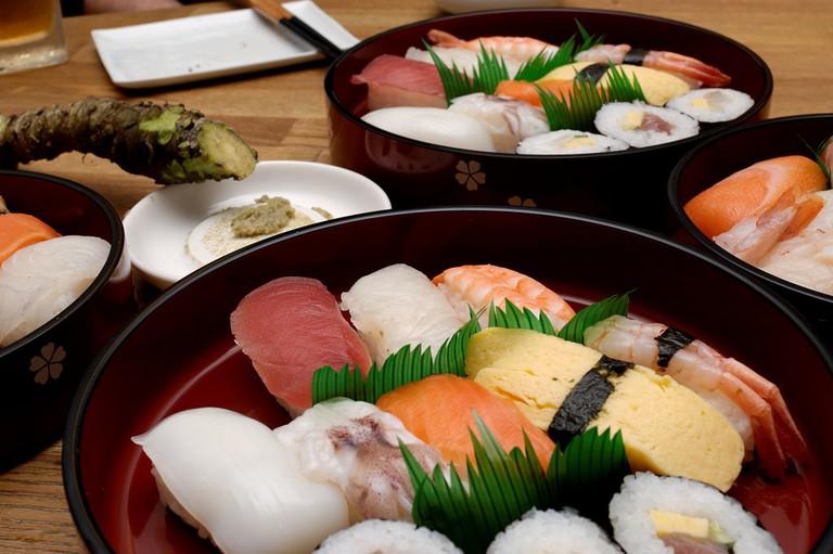 Sushi and Fresh Wasabi