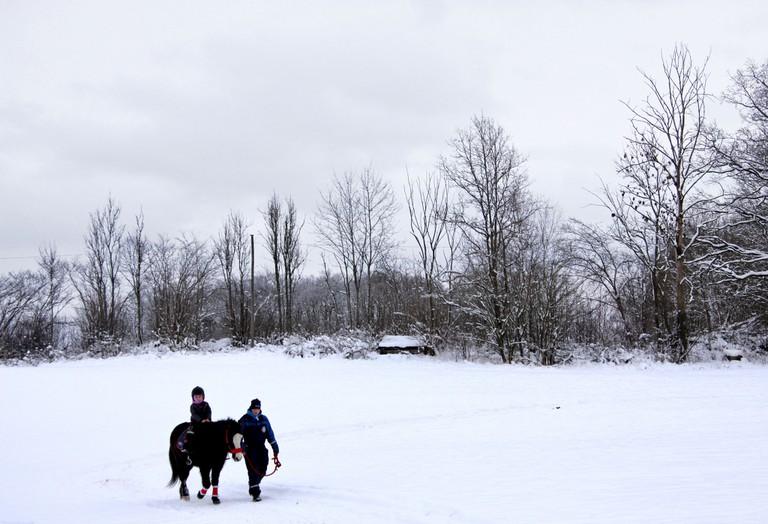 Horseback riding in winter