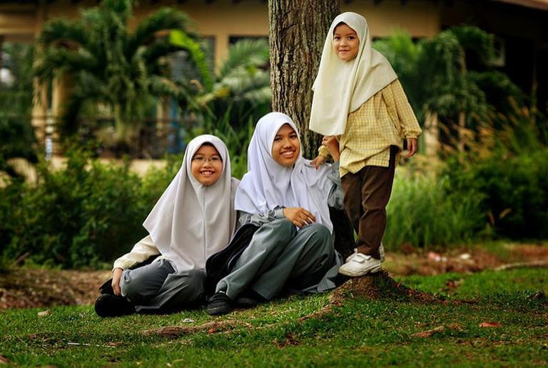 Girls wearing hijab