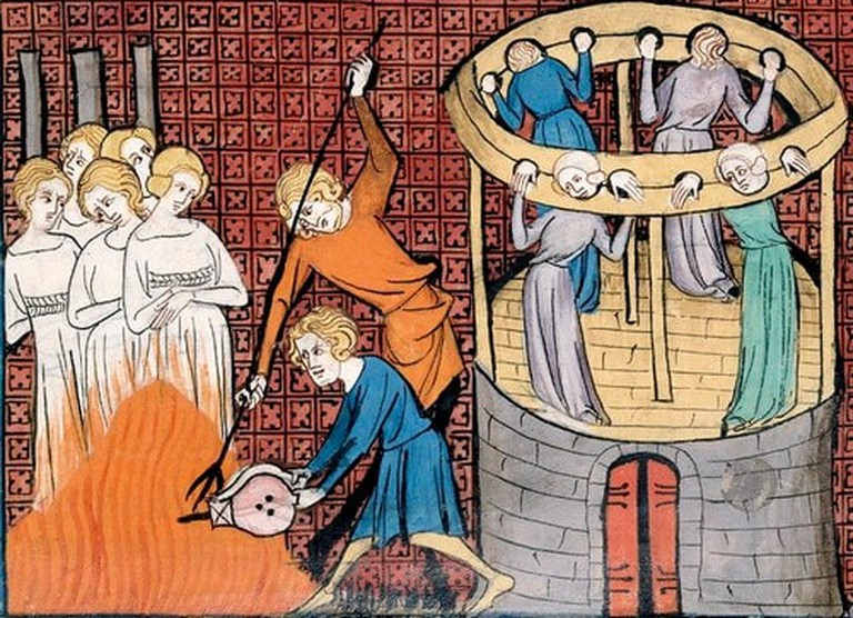 The burning of witches in the 14th century. Between 40,000 and 100,000 people are thought to have been executed for witchcraft.