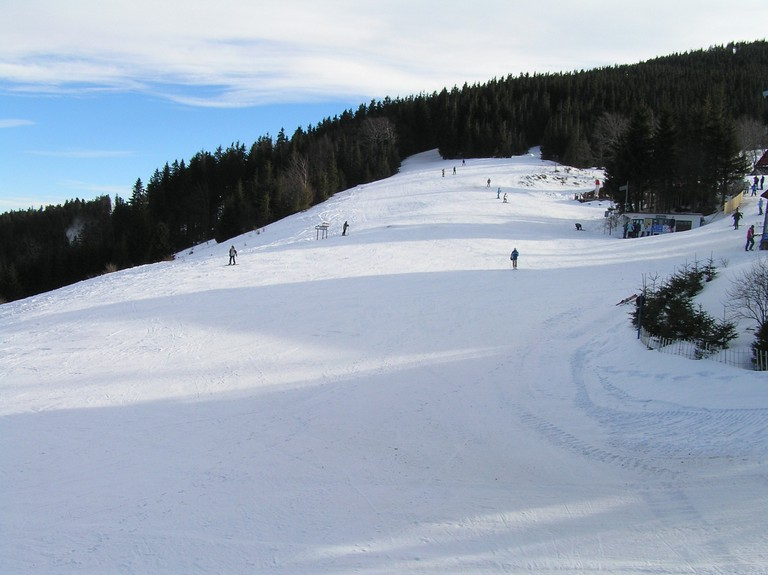 Ski down one of the wide slopes at Szczyrk