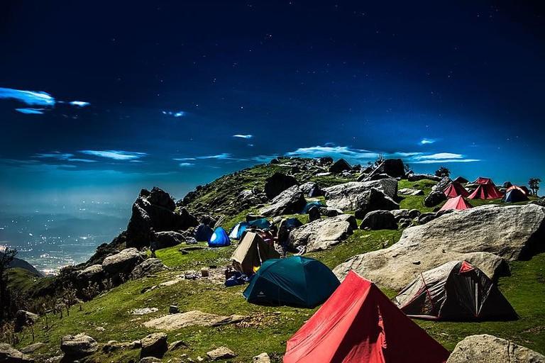 Triund campsite in Kangra Valley