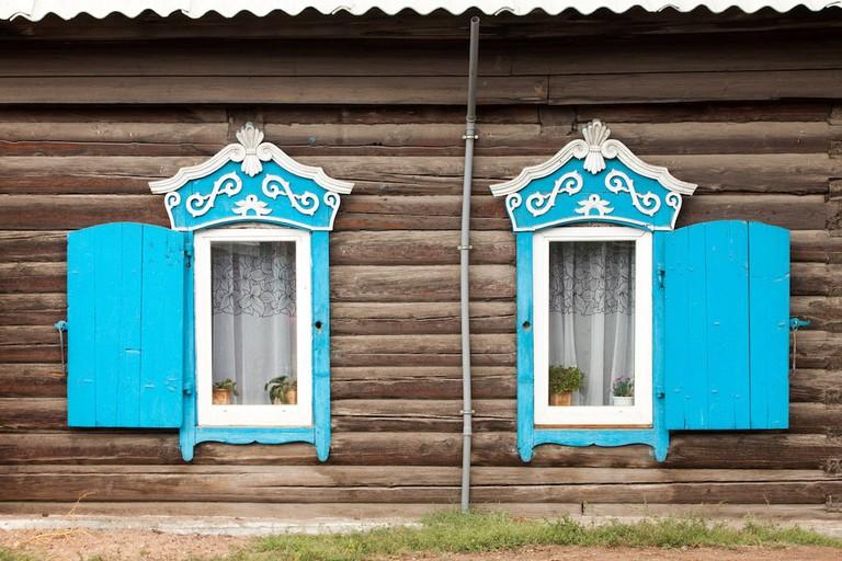 Window frames in Ulan-Ude
