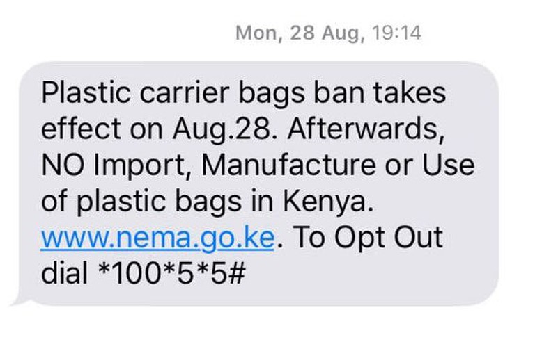 The NEMA in Kenya announces the plastic bag ban on August 28, 2017