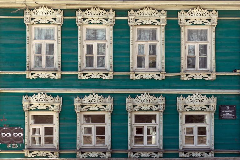 Window frames in Volga, Russia