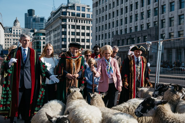 Mary Berry and freemen of the City of London at the sheep drive, 2017