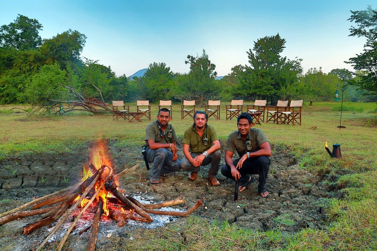 Setting up the bonfire for dinner with Leopard Trails at Yala National Park