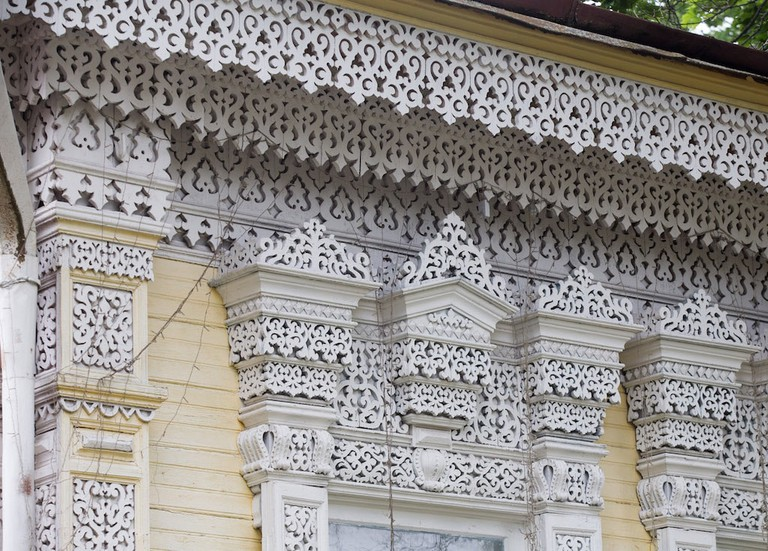 Ornate wood decorations in Zlynka, Russia