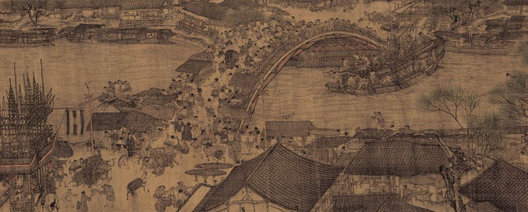 A small section of the painting Along the River During the Qingming Festival, now kept at the Palace Museum