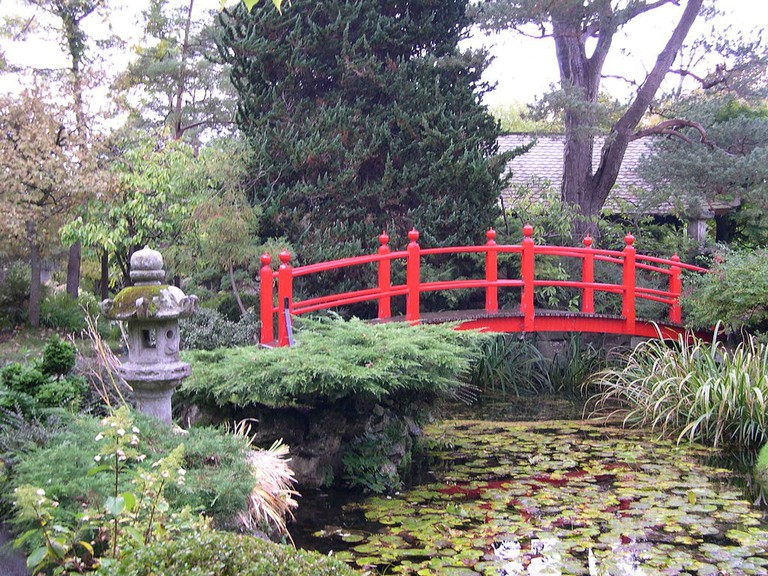 The garden is decked with Japanese bridges