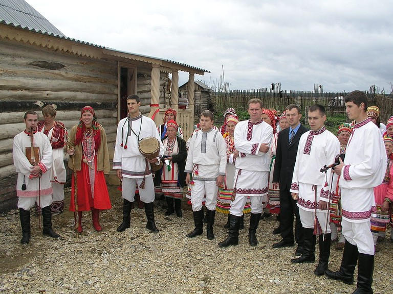 Mordvins in traditional outfits
