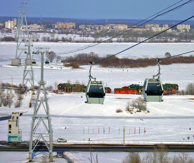 The cable car over the frozen river