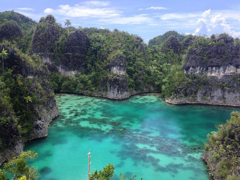 Star-shaped lagoon between small islands at Raja Ampat