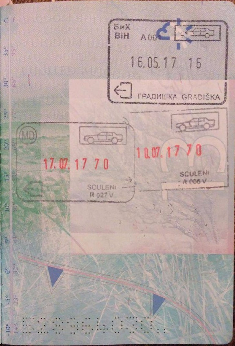 An entrance stamp to Bosnia, but no exit stamp