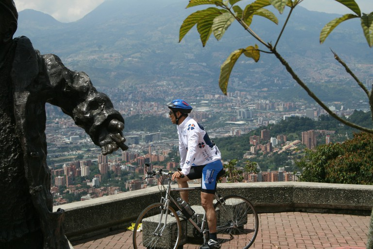 A cyclist enjoying the view from Las Palmas