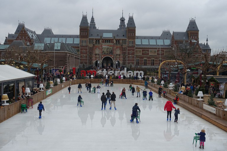 The open air ice rink outside the Rijksmuseum in Amsterdam