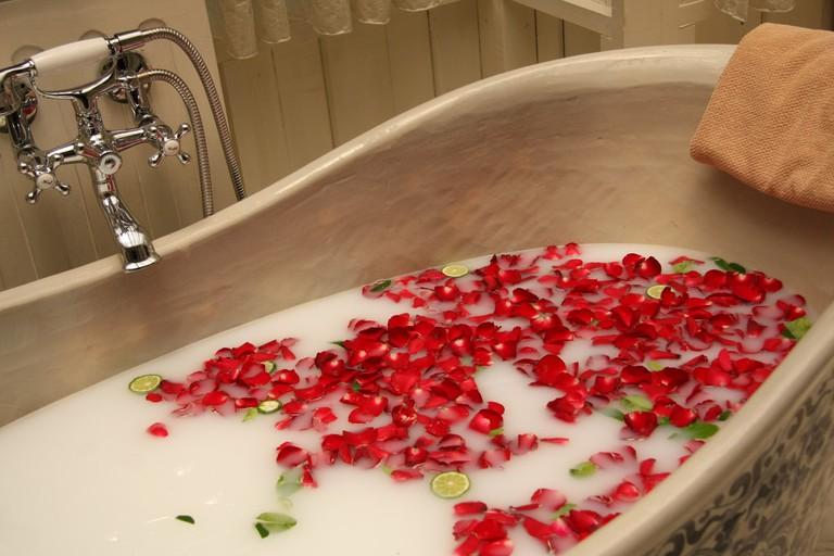 Bubbles and rose petals