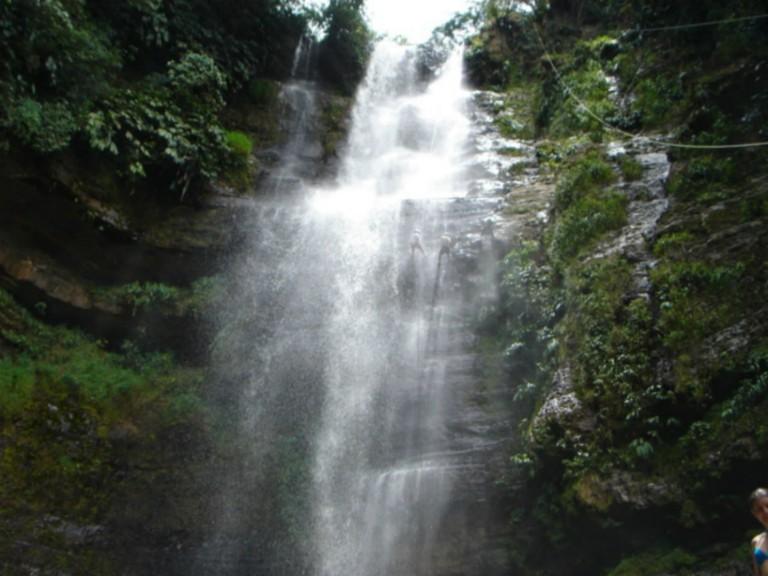 Waterfall rappelling near San Gil
