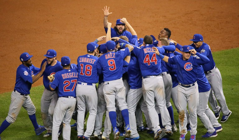 The Cubs celebrate after winning the 2016 World Series